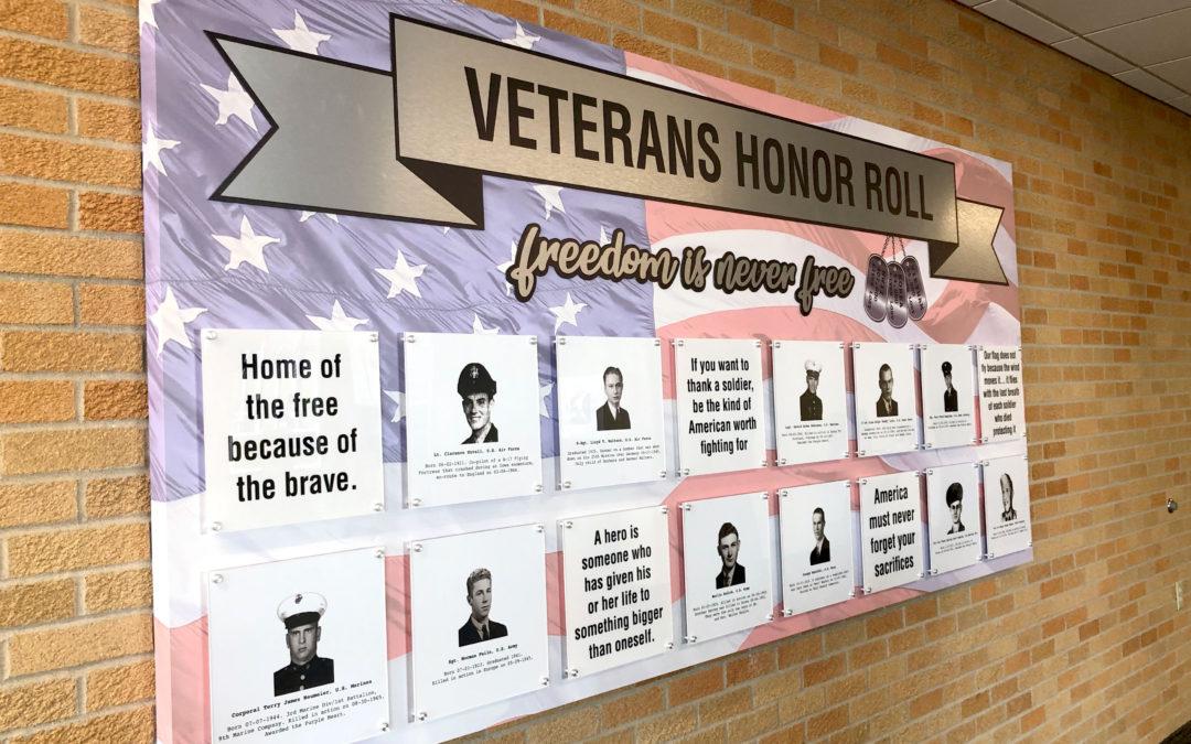 Kewaunee Veteran Memorial Panel on Brick Wall